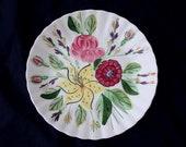 "Blue Ridge TIGER LILY 10.25"" Dinner Plate Colonial Dinnerware Pink Rose Hand Painted Red Mum Chrysanthemum (B31) 1224"