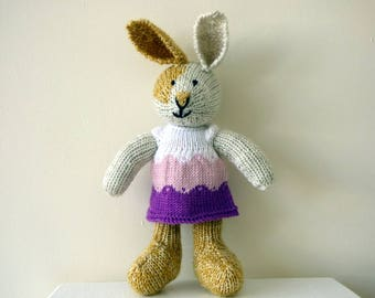 Knit Bunny, Knitted Bunny Rabbit, Knitted Animal, Hand Knitted Rabbit, Woodland Rabbit, Handmade Bunny, Stuffed Bunny, Rabbit Lover Gift