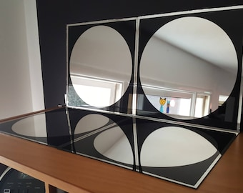 Set of 4 Mirror Moods Mirrored Tiles - 12 inch by 12 inch - Panton Circles - Vintage Mirrors - Roundups Black