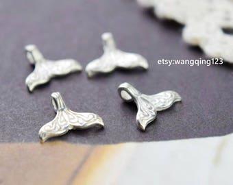 4 pcs sterling silver whale tail mermaid tail charm pendant  , YB3