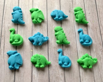 12 Edible sugar Fondant Dinosaurs - Blue and green Cupcake Toppers - boys party