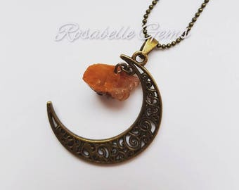 Crescent Moon Necklace, Carnelian Pendant, Carnelian Jewelry, Carnelian Necklace, Crystal Pendant, Red, Boho Jewelry,  Galaxy Jewelry, Moon