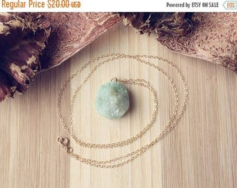 "CLEARANCE Natural Light Green Rock Pendant Necklace on 24"" 14k Yellow Gold Filled Chain, Druzy Necklace, Silver Necklace, Green Necklace"