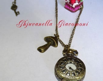 Watch necklace with Alice the Wonderland