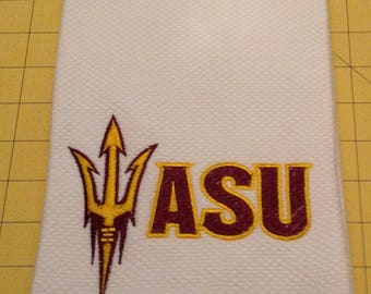 ARIZONA STATE University (ASU)! Embroidered Williams Sonoma All Purpose Kitchen Hand Towels 20 x 30, Extra Large