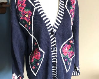 1990s Paris Sport Club Hand Knitted Navy Floral Cardigan Sweater : Size Medium