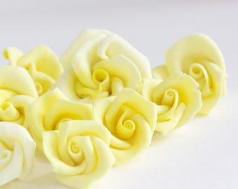 Yellow Fondant Roses, Edible Cupcake Toppers, Cake Toppers, Wedding Cake, Birthdays-