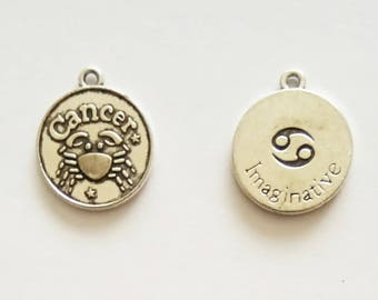 5 Double Sided Cancer Star Sign Charms. Tibetan Silver. Horoscope. Pendant. Astrology.