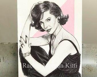 Natalie Wood, vintage, old hollywood, portrait, original art, actress, pink, 1950s, west side story,