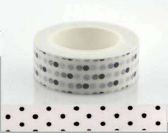 Masking tape washi tape white black polka dots