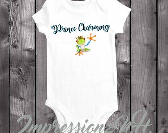 prince charming onesie - cute frog,  prince baby bodysuit,  one-piece shirt