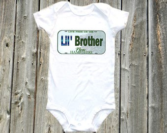 Lil Brother onesie baby shirt - lil brother one-piece bodysuit shirt - new hampshire souvenir
