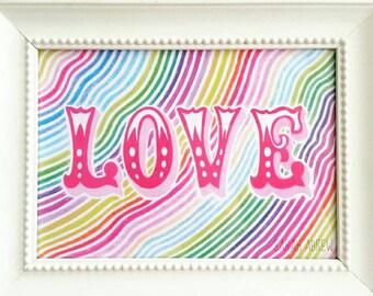 POLYCHROME LOVE - 5x7 art print typography rainbow waves aurora borealis decor wall art Valentine's Day LOVE