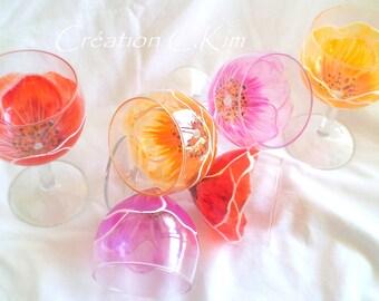 """6 Verres-fleurs """"Douceur sévillane """"  en coloris chaleureux  peints main C.Kim"""