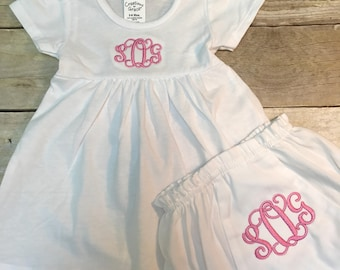 Baby girls clothing etsy sg baby dress and bloomers baby dress set personalized baby dress monogrammed baby dress negle Image collections