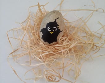 handmade 3D hand drawn Beach Pebble chick in egg