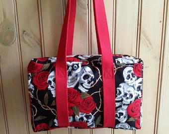 Handmade skull and roses handbag