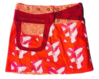 Reversible Skirt-Wrap Skirt-Mid Length Skirt- Adjustable Waistline-Onesize fits most- Detachable Reversible Pocket-Red & Pink Skirt