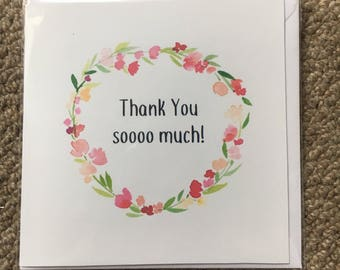 "Thank you card- floral- 6"" blank inside"