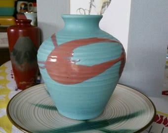 "Mid-Century Modern ""Toho"" Art pottery Vintage Turquoise with Artistic Pink drip Flower Vase made in Japan"