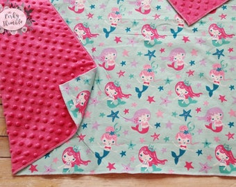 Mermaid baby blanket, Minky baby girl blanket, Pink Baby Blanket, Personalized Minky Blanket, Mermaid crib bedding