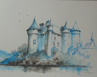 pencil drawing and blue wash Val Castle