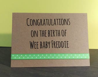 Personalised New baby card // Wee baby // New baby // New arrival // handmade greeting cards // Scottish banter // Baby boy // Baby girl