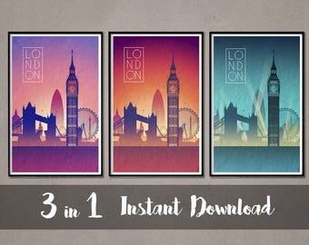 LONDON Skyline Instant Download Art London Art London Skyline London skyline London wall art London Skyline print