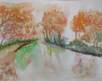 aquarelle de démonstration thème du paysage