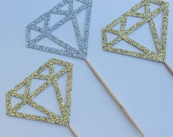 12 Glitter Diamond Cupcake Toppers Bridal Shower Cupcake Toppers Wedding Cupcake Toppers Engagement Cupcake Toppers Bachelorette Party