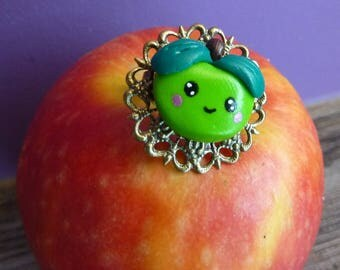 Ring tray filigree lace brass Apple green face kawaii Fimo polymer clay hand painted