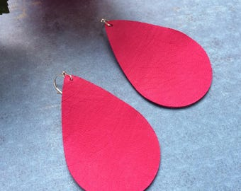Teardrop leather earrings, hot pink  leather teardrop earrings, pink leather earrings