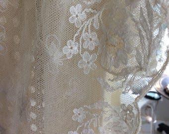 """REDUCED!  Antique Tambour Lace Curtain Panel, 44""""x46"""", Cream"""