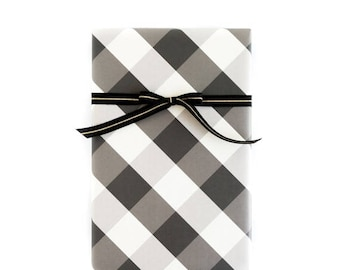 60% OFF Buffalo Check Black and White Wrapping Paper