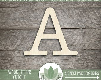 Wood Letter or Number Cut Out, Unfinished Wood Letter Laser Cut Shape, DIY Craft Supply, Many Size Options, All Letters & Numbers Available