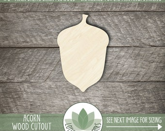 Wood Acorn Cutout, Laser Cut Acorn Wooden Shape, Unfinished Wood For DIY Projects, Acorn Fall Wedding Favor, Many Size Opitons, Fall Wedding