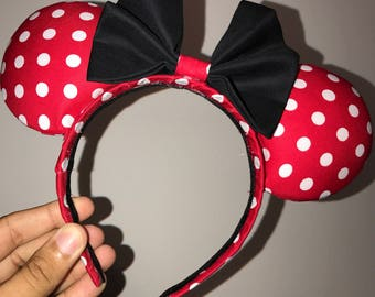 Minne Mouse Ears-Red and White Polka Dot