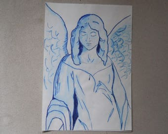 Blue angel watercolor