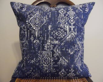Sioux Navy and White INDOOR OUTDOOR Pillow Covers.Slip Covers.Home Decor.Patio Decor.Southwestern.Navy.Blues.White.Pillow Cover.Slip Cover