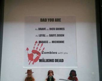 The Walking Dead themed minifigure fathers day frame. Including Rick grimes, Daryl Dixon, Michonne with print you can personalise