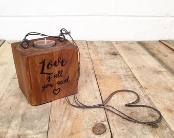 Hanging Wooden Pallet Block Candle Holder with Sandalwood Tealight