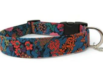 Florence Liberty Fabric Dog Collar, Floral Design Collar, Bright Dog Collar, UK Made, High Quality Collar