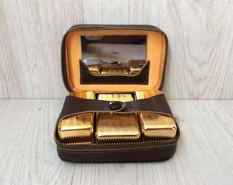 Vintage shaving set 1970's Shaving kit Leather case Travel kit Man's accessory Compact shaving set Portable shaving kit Gift for him