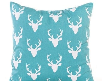 SALE ENDS SOON Deer Throw Pillow Cover, Blue, Boys Room Decor, Soft Cotton Pillows, Rustic Nursery, Antlers, Pillowcase, 12x12, 14x14, 16x16