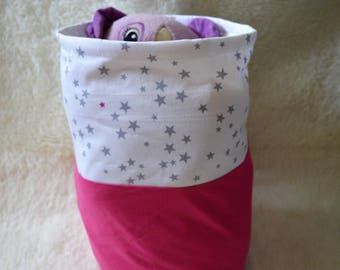 AVAILABLE * fuchsia stars white toy bag gray