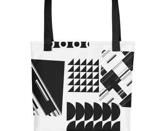 Black & White Geometric Tote Bag - Women's Totes, Fashion Accessories For Women, Black Totes, White Totes, College Beach Shopping Bags