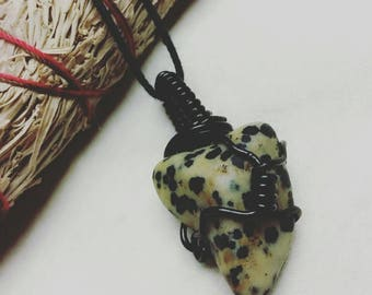 Dalmatian Stone Wire Wrapped Necklace