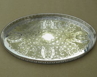 Silver Plated Tray - Pierced Edge - Chased Design - Distressed/Worn/Shabby Chic - Viners of Sheffield - Alpha Plate - Vintage Silverplate