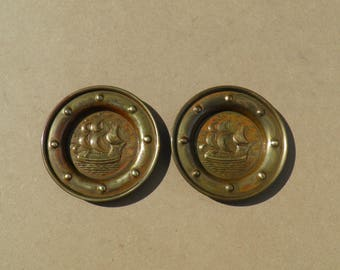Pin Dishes - Brass - Nautical Theme - Vintage Brass