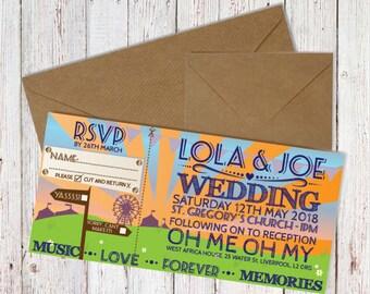 Wedding Invitation, RSVP and Envelope, Festival Theme Wedding, Envelopes Included